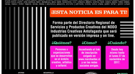 INSCRIBETE AHORA EN EL DIRECTORIO REGIONAL DE SERVICIOS Y PRODUCTOS CREATIVOS DE ANTOFAGASTA